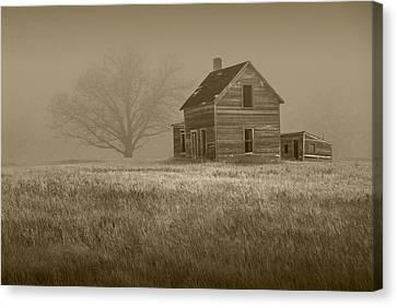 Sepia Vintage Farmhouse Canvas Print - Sepia Of An Abandoned Farm House by Randall Nyhof