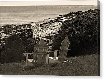 Sepia Seaside Retreat Canvas Print by Lone Dakota Photography