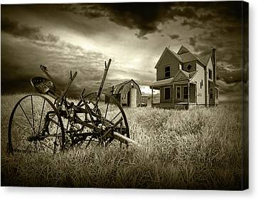 Sepia Vintage Farmhouse Canvas Print - Sepia Tone Of The Decline Of The Small Farm by Randall Nyhof
