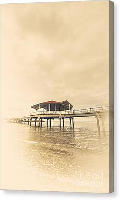 Wooden Platform Canvas Print - Sepia Toned Image Of A Vintage Marine Pier by Jorgo Photography - Wall Art Gallery