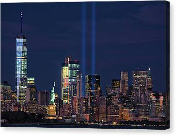 Canvas Print featuring the photograph September 11tribute In Light by Emmanuel Panagiotakis