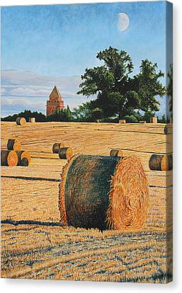 September Corn Moonrise Canvas Print by Adrian Jones