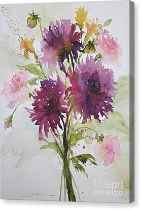 September Dahlias Canvas Print