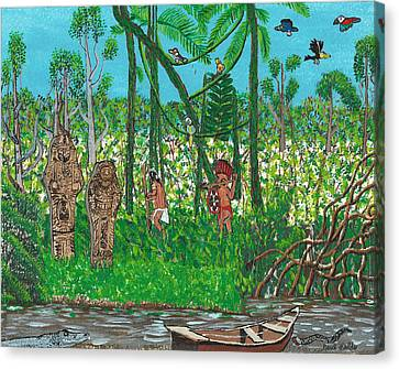 September   Hunters In The Jungle Canvas Print