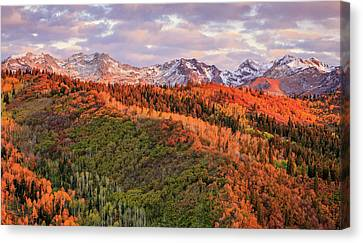 Canvas Print featuring the photograph September Snow In The Wasatch Back. by Johnny Adolphson