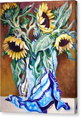 Canvas Print featuring the painting September Sunflowers by Laura Aceto