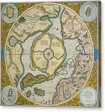 Septentrionalium Terrarum Descriptio Canvas Print by Gerardus Mercator