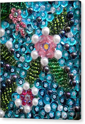 Artisan Canvas Print - Sequis And Bead Embroidery. Spring Flowers by Sofia Metal Queen