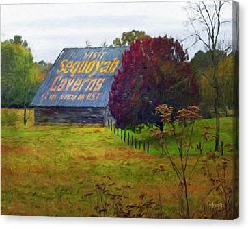 Shower Head Canvas Print - Sequoyah Caverns Sign Old Barn by Rebecca Korpita