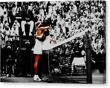 Serena Williams And Angelique Kerber Canvas Print by Brian Reaves