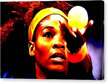 Serena Williams First Round Canvas Print by Brian Reaves