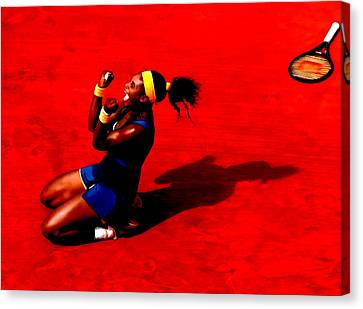Serena Williams French Open Victory Canvas Print by Brian Reaves