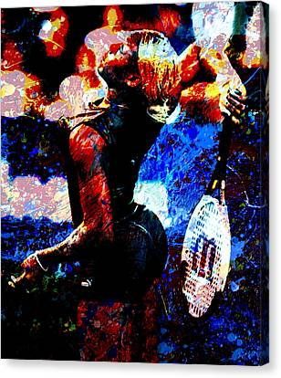 Serena Williams In The Paint Canvas Print by Brian Reaves