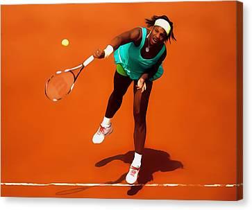 Maria Sharapova Canvas Print - Serena Williams Match Point 2c by Brian Reaves
