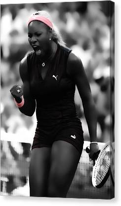 Serena Williams On Fire Canvas Print by Brian Reaves