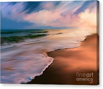 Serene Beach At Sunrise Canvas Print by Anthony Fishburne