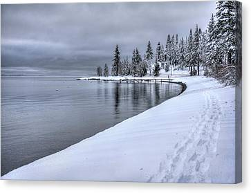 Canvas Print featuring the photograph Serene Beauty Of Lake Tahoe Winter by Peter Thoeny