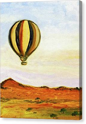 Canvas Print featuring the painting Serengeti Balloon Ride by Kara Evelyn-McNeil