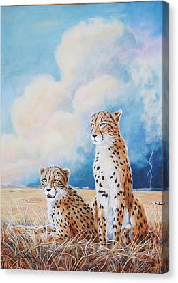 Canvas Print featuring the painting Serengeti Strikes by DiDi Higginbotham