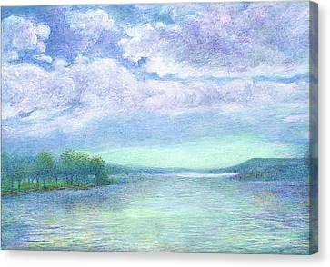 Canvas Print featuring the painting Serenity Blue Lake by Judith Cheng