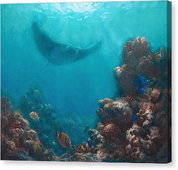 Serenity - Hawaiian Underwater Reef And Manta Ray Canvas Print by Karen Whitworth