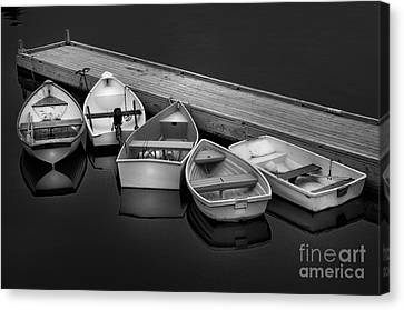 Serenity On A Maine Harbor-five Dinghy's Black And White By Thomas Schoeller  Canvas Print by Thomas Schoeller