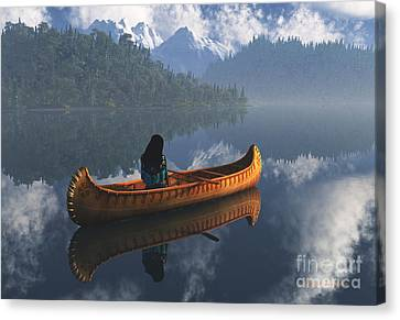 Serenity On The River Canvas Print by Diana Voyajolu
