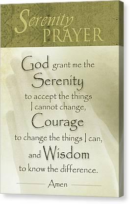 Serenity Prayer With Praying Hands Canvas Print