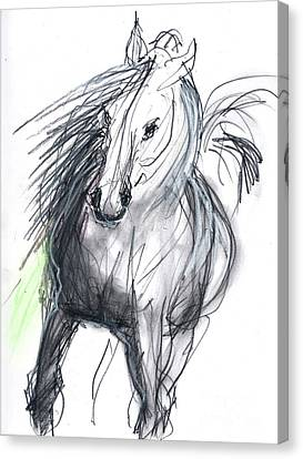 Canvas Print featuring the mixed media Sergei by Carolyn Weltman