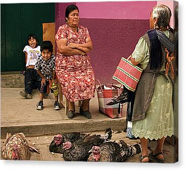 Serious Business - Mayan Family At A Mexican Market Canvas Print by Mitch Spence
