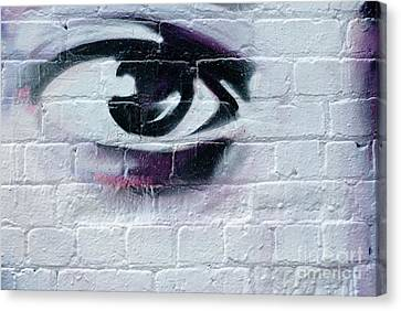 Canvas Print featuring the painting Serious Graffiti Eye On The Wall by Yurix Sardinelly