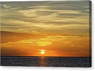 Southwest Florida Sunset Canvas Print - Service Club Park Beach Sunset  -  Svcpkss56 by Frank J Benz