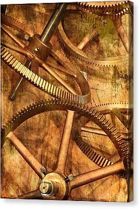 Antique Ironwork Canvas Print -  Seth Thomas 1911 Clock Mechanism -  Gears by Marianna Mills