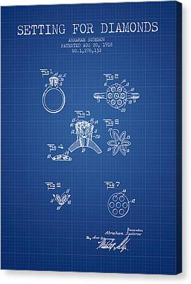 Setting For Diamonds Patent From 1918 - Blueprint Canvas Print by Aged Pixel