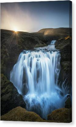 Setting Sun Above Iceland Waterfall Canvas Print