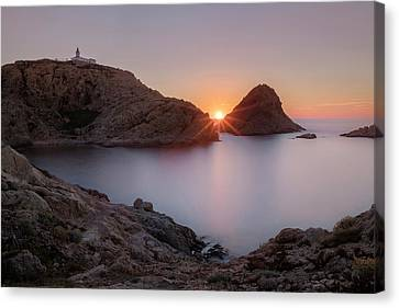 Port Town Canvas Print - setting sun at L'Ile Rousse - Corsica by Joana Kruse