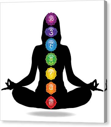 Seven Chakra Illustration With Woman Silhouette Canvas Print