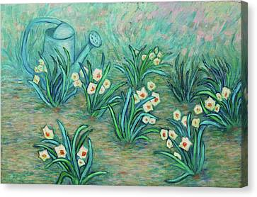 Canvas Print featuring the painting Seven Daffodils by Xueling Zou