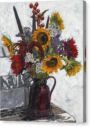 Seven Sunflowers Canvas Print by Nanette Vacher