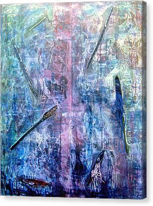 Seven Zippers Canvas Print by Nancy Mueller