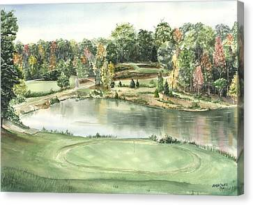 Seventeen Green The Trails Golf Course Canvas Print by Lane Owen