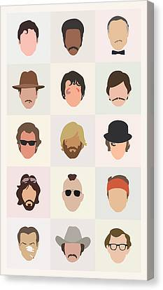 Glass Canvas Print - Seventies Movie Dudes by Mitch Frey