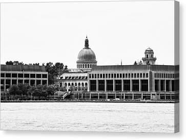 Severn River View Of United States Naval Academy Canvas Print by Brendan Reals
