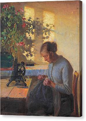 Sewing Fisherman's Wife Canvas Print by Anna Ancher