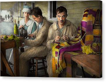 Sewing - Knitting Helps Me To Relax... 1917 Canvas Print by Mike Savad