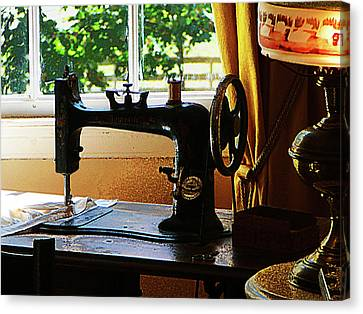 Sewing Machine Canvas Print - Sewing Machine And Lamp by Susan Savad