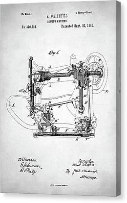 Canvas Print featuring the digital art Sewing Machine Patent by Taylan Apukovska