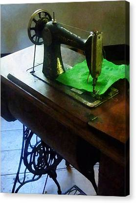 Sewing Machine With Green Cloth Canvas Print by Susan Savad