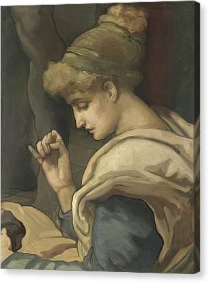 Sewing Canvas Print by Maurice Greiffenhagen