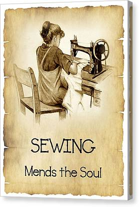 Sewing Mends The Sould Canvas Print by Joyce Geleynse